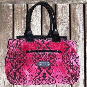 Raspberry Pink Burn-out Velvet Baby Diaper Bag